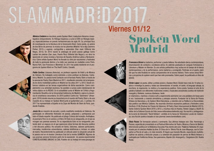 Programa Spoken Word_SLAMMADRID 2017